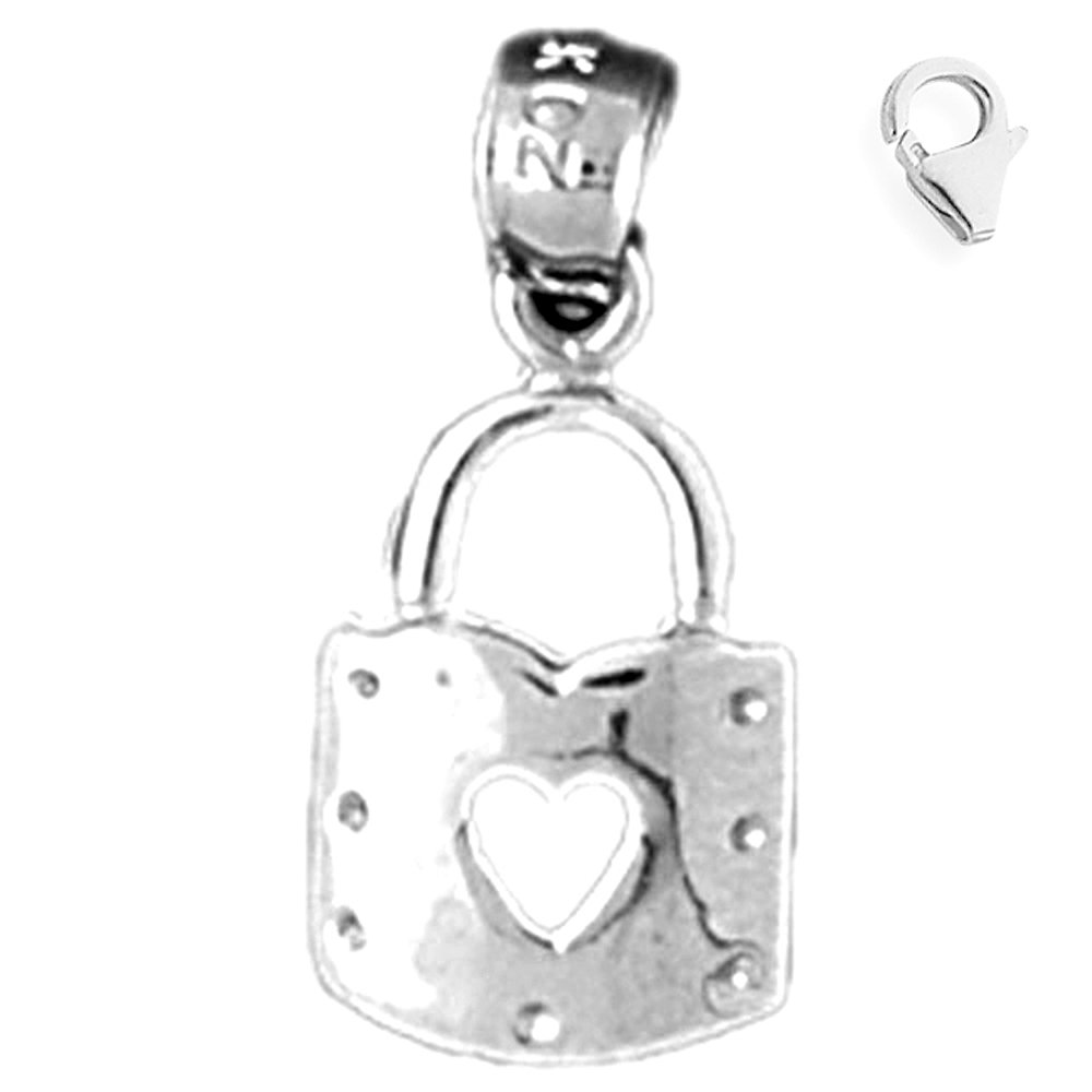 JewelsObsession Sterling Silver 19mm Heart Padlock Lock Charm w//Lobster Clasp