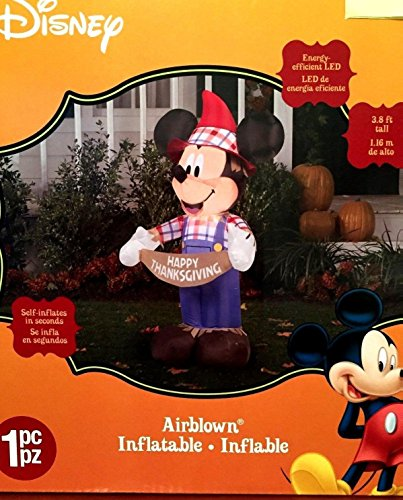 Outdoor Thanksgiving Decorations (Mickey Mouse Thanksgiving Inflatable 3.8 Foot Scarecrow Airblown Yard)