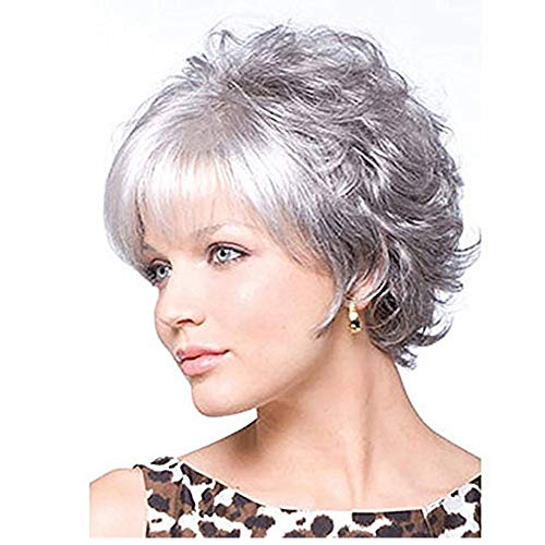 Beauty : LEJIMEI Short Curly Wigs for White People - Women's Wigs with Bangs Heat Resistant Synthetic Fiber Hair Full Wigs with Free Wig Cap (Silver Gray)