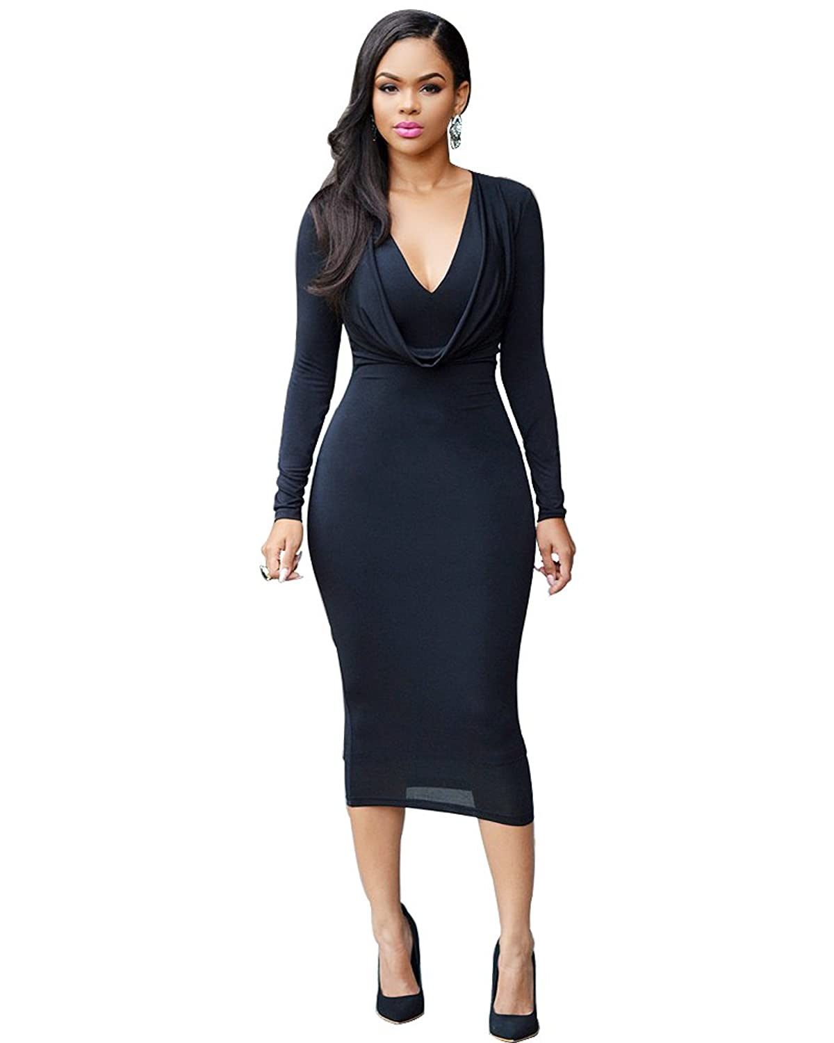 HAPEE Women's Long Sleeve Zip Stretch Bodycon Party Club Sexy Dresses