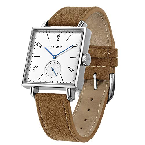 - FEICE Bauhaus Watch Men's Automatic Watch Minimalist Square Wrist Watch Stainless Steel Leather Bands Sapphire Mirror Mechanical Watches for Women Unisex #FM301 (Brown)