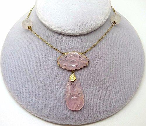 Art Deco Chinese Export 10k Gold Genuine Natural Rose Quartz Necklace (#3594)