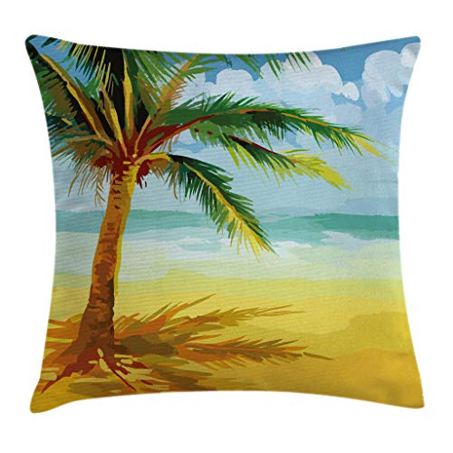 "Ambesonne Tropical Throw Pillow Cushion Cover, Coconut Palm Tree Branches on The Beach Exotic Nature Print, Decorative Square Accent Pillow Case, 20"" X 20"", Yellow Sky"