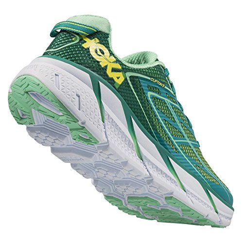 Hoka One One W Clifton 3 Blue Jewel Neon Coral Verde tropical
