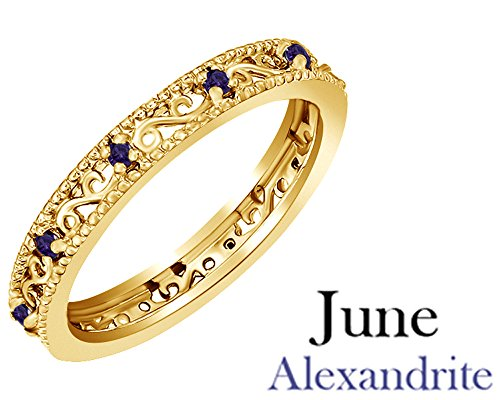Jewel Zone US Round Cut Purple Simulated Alexandrite Stackable Ring in 14K Yellow Gold Over Sterling Silver