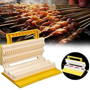 Fovely - Set di attrezzi per barbecue, pratico multifunzionale, doppia fila BBQ Meat Skewer ABS Plastic Meat Rope… 1 spesavip