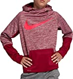 NIKE Boy's Therma Heathered Graphic Hoodie (Red, X-Small)