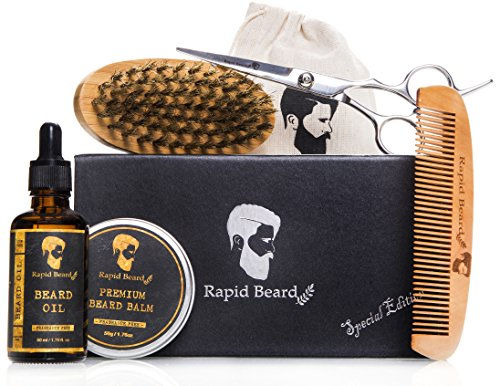Beard Grooming & Trimming Kit for Men Care - Beard Brush, Beard Comb, Beard Oil, Beard Balm Leave-in Conditioner and Barber Trimming Scissors for Styling and Shaping Beard and Mustache Gift set