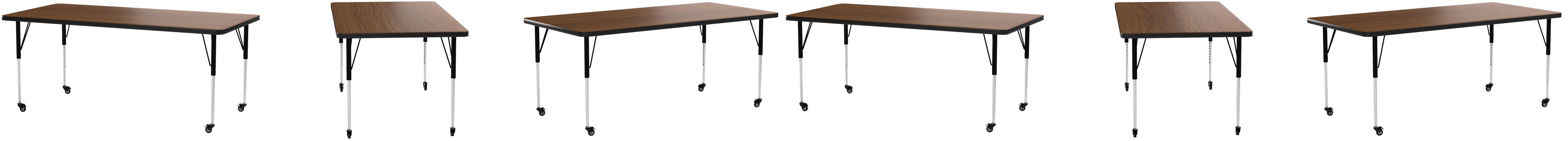 Height Adjustable Short Legs 36 W x 72 D x 17.37-25.37 H StarSun Depot Mobile 36 W x 72 L Rectangular Oak Thermal Laminate Activity Table