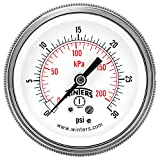 """Winters P9S 90 Series Steel Dual Scale Pressure Gauge with Removable Lens, 0-30 psi/kpa, 2-1/2"""" Dial Display, -2-1-2% Accuracy, 1/4"""" NPT Center Back Mount"""