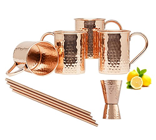 Moscow Mule Copper Mugs - Set of 4-100% PURE COPPER HANDCRAFTED - Food Safe Pure Solid Copper Mugs - 16 oz Gift Set with BONUS: Highest Quality Cocktail Copper Straws and Jigger! by CopperWood