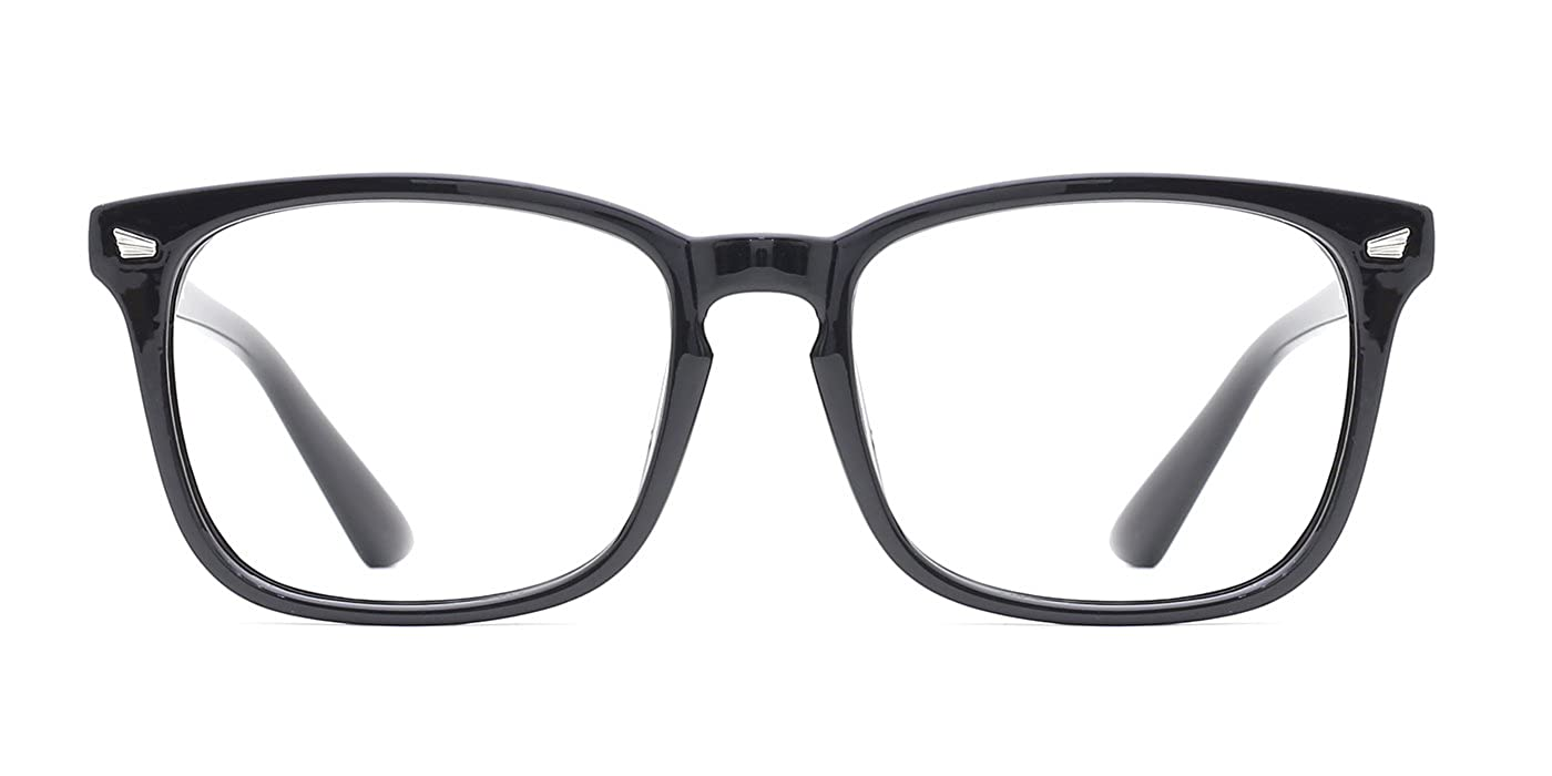 4ab2573f89 Amazon.com  TIJN Unisex Non-prescription Eyeglasses Glasses Clear Lens  Eyewear Black Square