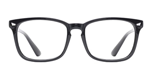 d43e2ee8289 TIJN Unisex Non-prescription Eyeglasses Glasses Clear Lens Eyewear Black  Square