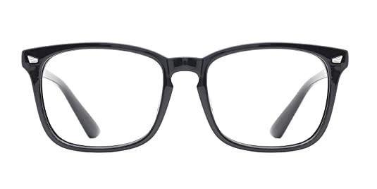 65b3c8002360b Amazon.com  TIJN Unisex Non-prescription Eyeglasses Glasses Clear Lens  Eyewear Black Square