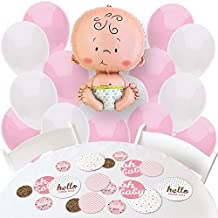 Hello Little One – Pink and Gold - Confetti and Balloon Girl Baby Shower Decorations - Combo Kit