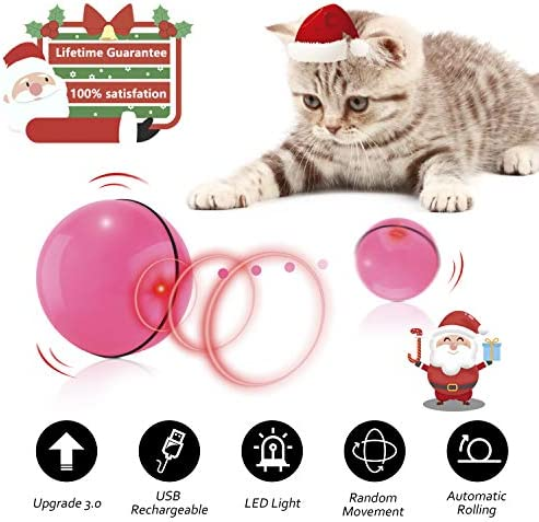 Interactive Cat Toys for Indoor Cat,Upgraded Version Self Rotating Electronic USB Rechargeable Wicked Cat Toy Ball with Build-in Red LED Light,Stimulate Hunting Instinct for Your Cat/Kitten (Red) 2