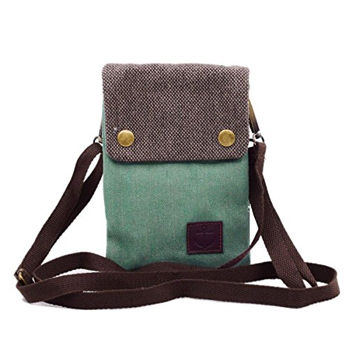 WITERY Women Cute Candy Green Crossbody Bag/Cellphone Purse/Mini Shoulder Bag/Cellphone Pouch, Canvas 4 Bags Small Wallet with Adjustable Shoulder Strap