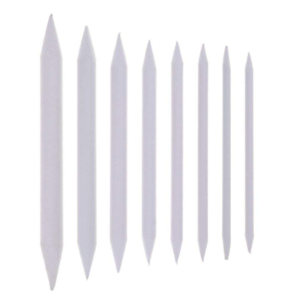 Haishell 16 Pieces White Blending Stumps and Tortillons Set Art Blenders Sticks for Student Sketch Drawing Accessories,8 Sizes