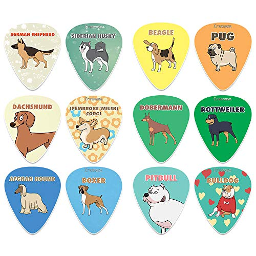 Creanoso Cool Dog Guitar Picks (12-Pack) - Medium Gauge Celluloid - Unique Music Gifts & Stocking Stuffers for Men Him Husband Dad Boyfriend Son Boys Kids Musician Father Day Gift Dog Owners