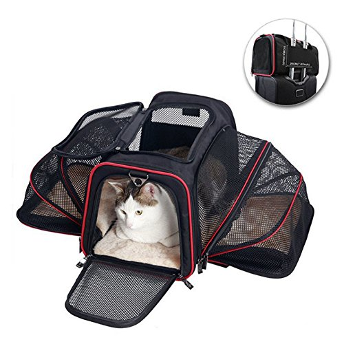Pet Travel Carrier,FOME Expandable Foldable Washable Pet Carrier Bag Soft Sided & Most Airline Approved for Easy Carry on Luggage with Removable Mat Pet Travel Bag Fits for Pet Under 14LBS 18x11x11in (14 Lb Bag)