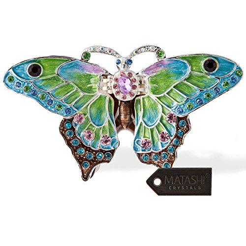 Matashi Hand Painted Trinket Box | Hand-Painted Jewelry Holder with Elegant Crystals |Collectible Figurine & Decorative Living Room Jewelry Holder (Pastel Butterfly)