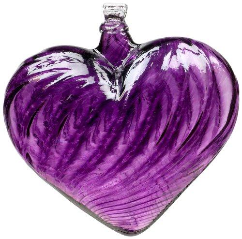 Kitras 3-Inch Heart Shaped Glass Ornament, Purple