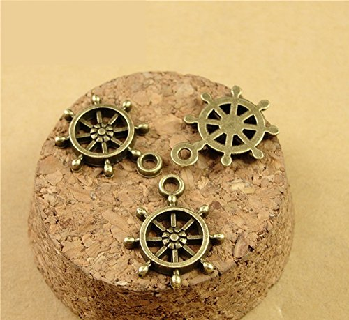 Youkwer 100Pcs 19mm x15mm Ship Wheel Captain Rudder Charms Jewelry Making Findings Accessories Charms Pendants for DIY Crafting ,Bracelet and Necklace Making(Antique Bronze) ()