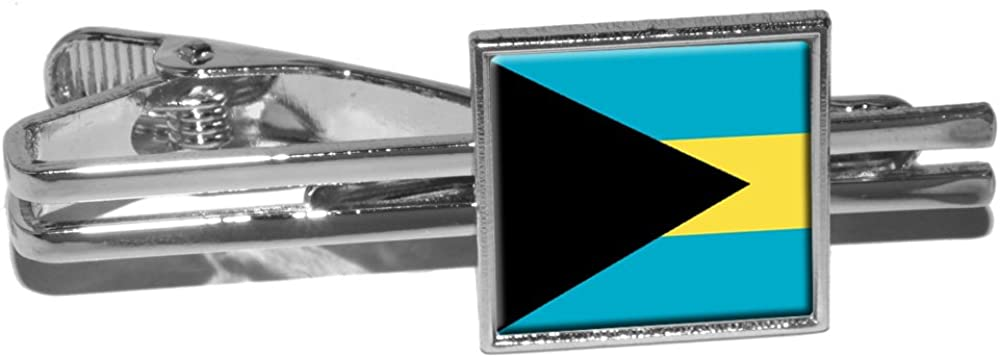 Silver Graphics and More Bahamas Flag Square Tie Bar Clip Clasp Tack
