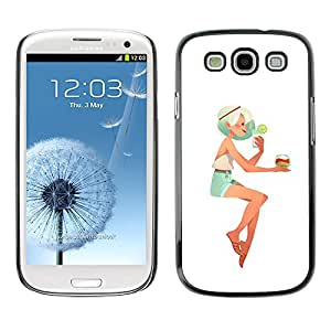 A-type Colorful Printed Hard Protective Back Case Cover Shell Skin for SAMSUNG Galaxy S3 III / i9300 / i747 ( Girl Blonde Woman Beach Cocktail Shorts )