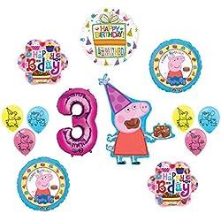 Peppa Pig Rosa 3rd Fiesta de cumpleaños globo Suministros y decoraciones Kit