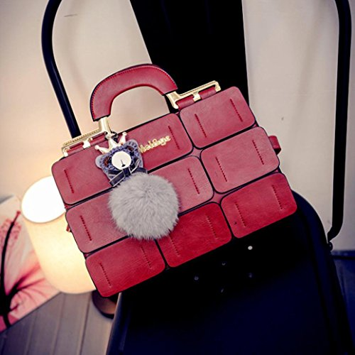 Ball Crossbody Plush Handbag Bag Messenger Bag Women Patchwork with Red Leather zqCwHT