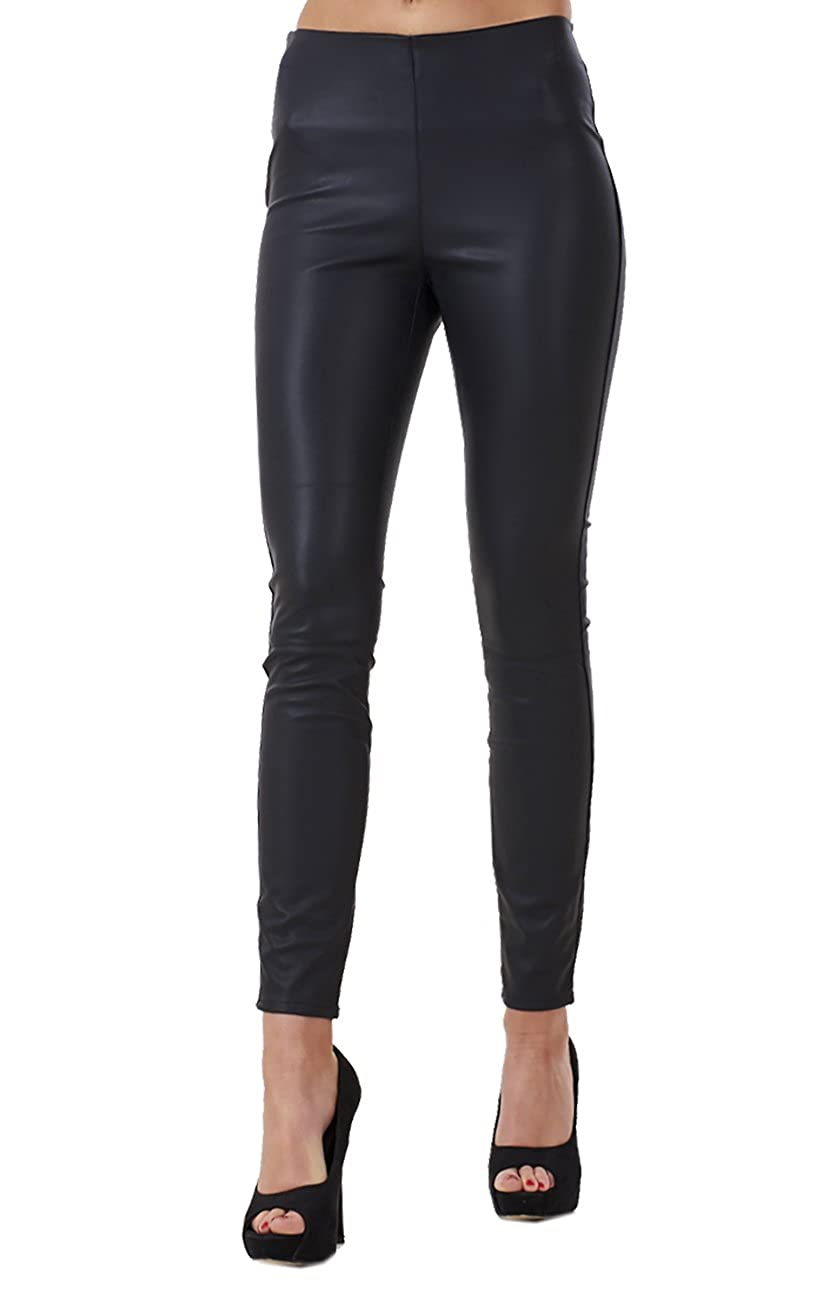 Ex Highstreet Ladies Black Slim Fit PU Leggings Black Womens Leather Look Stretch Jeggings Ex High Street