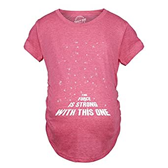 Crazy Dog Tshirts - Maternity Force Is Strong Funny Maternity Shirts Cute Maternity Shirt Announce Pregnancy (Heather Pink) S - Camiseta De Maternidad