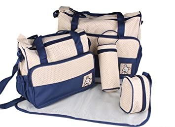 In 5 Colours Brown by Baby World 5 Piece Baby Changing Bag