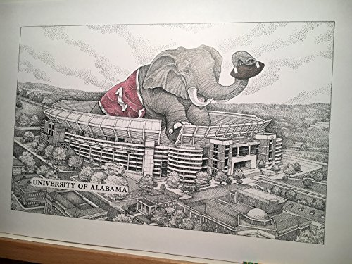 Alabama football stadium with elephant 11''x17'' pen and ink print from hand-drawn original by Campus Scenes (Image #1)