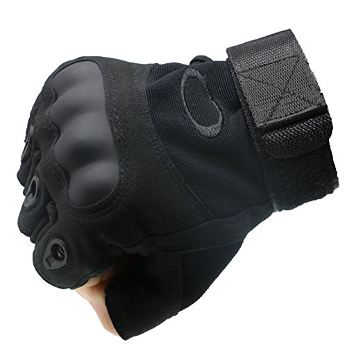ArunnersTM Mountain Bike Motorcycle Gloves Men Women Tactical Gloves Hard Knuckle Military Fingerless Half Finger Airsoft Paintball Outdoor Gloves Black