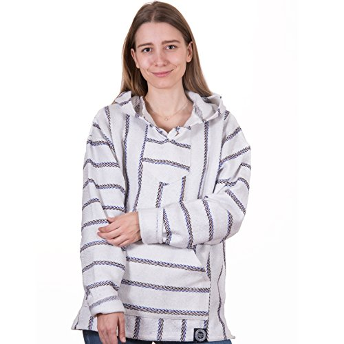 Orizaba Original Baja Hoodie - White Blue Red Black Zigzag - Sierra Negra 3XL