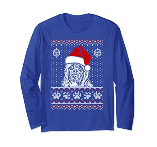 Unisex Akita Christmas Long Sleeve T Shirt Noel Gift Large Royal (Akita Christmas Gifts)