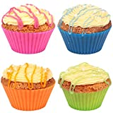 Prefer Green Reusable and Non-stick Silicone Baking Cups / Cupcake Liners/Muffins Cup Molds in storage Container-24 Pack