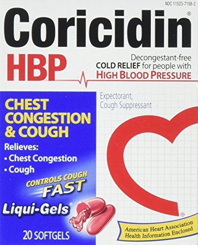 Coricidin Hbp Chest Congestion & Cough Liqui-Gels, 20 Count (Pack of 36) by Coricidin