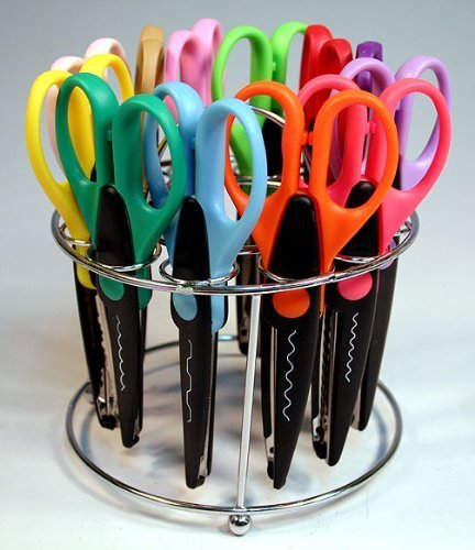 Strokes Office Supplies 12 Paper Edger Scissors with Organizer Stand! Great for Teachers, Crafts, Scrapbooking (SBA5115)]()