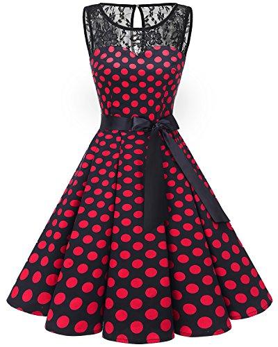 Bbonlinedress Vestido Mujer Corto Fiesta Boda Encaje Sin Mangas Black Red Bdot