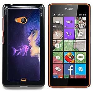 Fish & Pink Girl Caja protectora de pl??stico duro Dise?¡Àado King Case For Microsoft Nokia Lumia 540 N540