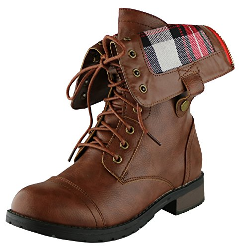 Mid Brown Calf Boots (Cambridge Select Women's Military Combat Foldable Plaid Cuff Mid Calf Ankle Boot (7.5 B(M) US, Brown))
