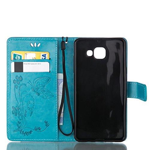Funda Samsung Galaxy A7 2016 SM-A710F OuDu Carcasa de Billetera Casco Patrón de Gofrado Caja Elegante Flor&Mariposa Funda PU Cuero Carcasa Suave Protectora con Correas de Teléfono Funda Arbol Flip Wal Azul