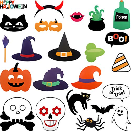 (Jetec 23 Pieces Halloween Decor Attached to The Stick Halloween Photo Booth Props, DIY Photo Booth for Halloween Party with Pumpkin Ghost Halloween Decorations Birthday Party Photo Props)