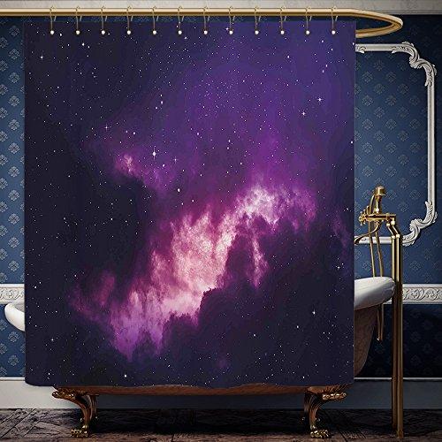 Wanranhome Custom-made shower curtain Space Decor Stars in Dark Night Sky Comet Constellation Deep Light Years Themed Artsy Image Purple For Bathroom Decoration 66 x 72 - Hughes Constellation