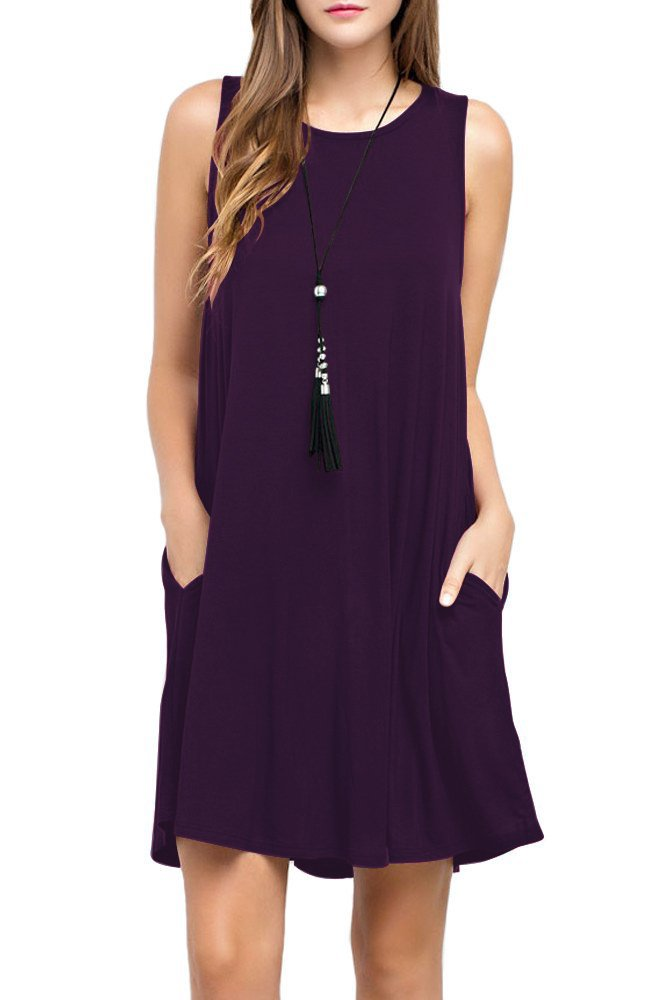 TOPONSKY Women's Sleeveless Pockets Casual Swing T-shirt Dresses (L, Purply)
