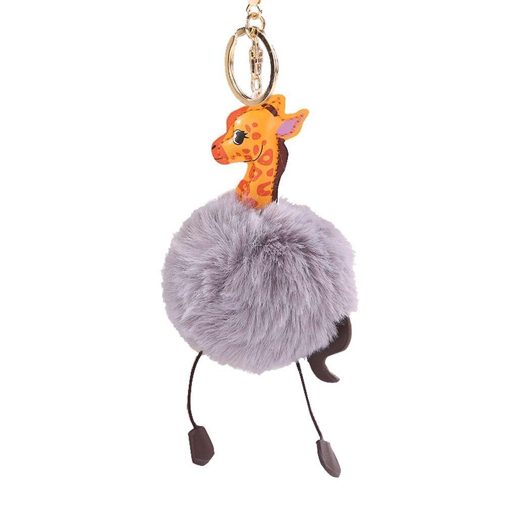 Gbell Puffy Pom Pom Ball Key Chains for Girls Backpack Schoolbag Pencil Case Purse Charm Pendant -Cute Giraffe Fluffy Pompom Keychain for Girls Toy Gifts,1Pcs 10 cm (Gray)