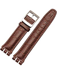 19mm Swatch Replacement Brown Croco Aligator Watch Strap with SWATCH MARKING TAG on STRAP & CLASP